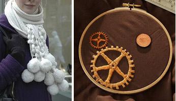 Pom-Pom Scarves and Steampunk Embroidery