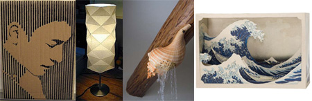 DIY Ideas: Cardboard Portraits, Origami Lamps, and Shell Showerhead