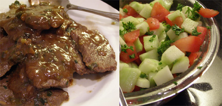 Soy Steaks and Cucumber Tomato Salad