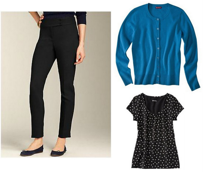 Budget Finds: Merona Polka Dot Top, Turquoise Sweater, Talbots Black Ponte