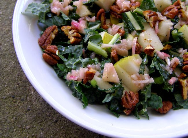 Kale, Pear, and Spiced Pecan Salad with Shallot Mustard Vinaigrette close-up