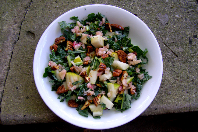 Kale, Pear, and Spiced Pecan Salad with Shallot Mustard Vinaigrette