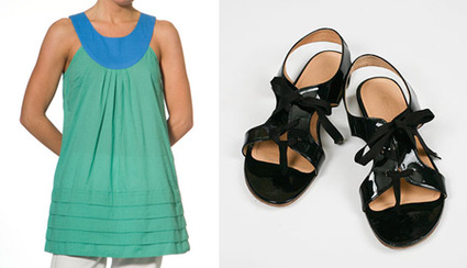 tulle top & patent oxford sandals